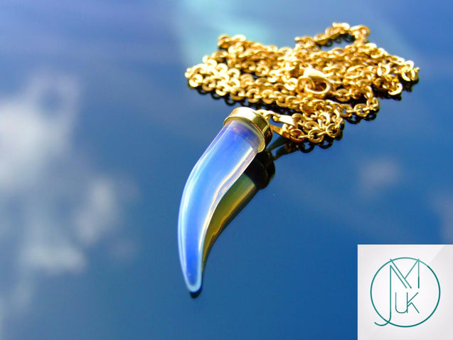Opalite Manmade Gemstone Pepper Pendant Necklace-Gemstone Necklaces-Michael's UK Jewellery
