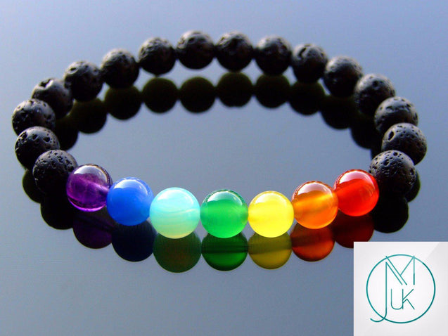 7 Chakra Black Lava Natural Gemstone Bracelet 6-9'' Elasticated-Gemstone Bracelets-Michael's UK Jewellery