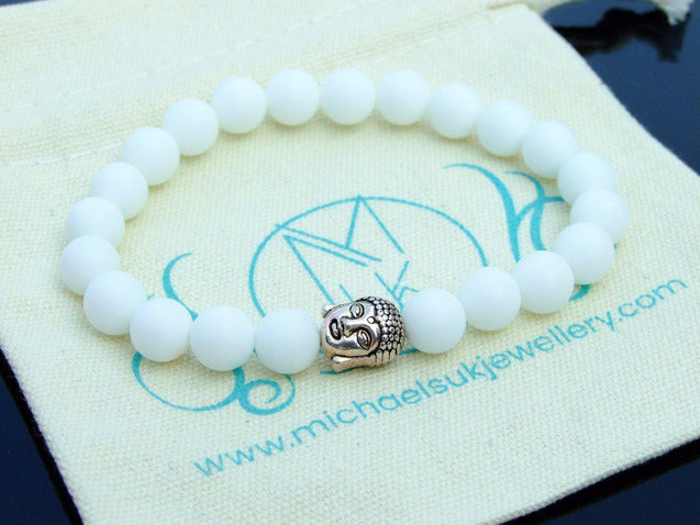 Buddha Frosted White Agate Natural Gemstone Bracelet 6-9'' Elasticated-Gemstone Bracelets-Michael's UK Jewellery