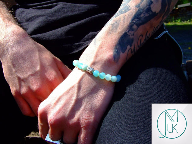 Buddha Light Blue Banded Agate Natural Gemstone Bracelet 7-8'' Elasticated-Gemstone Bracelets-Michael's UK Jewellery