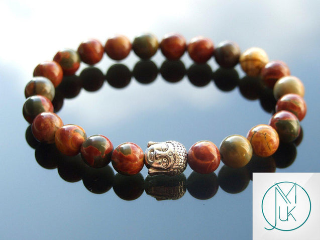Buddha Picasso Jasper Natural Gemstone Bracelet 6-9'' Elasticated-Gemstone Bracelets-Michael's UK Jewellery