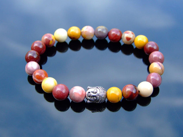 Buddha Mookaite Natural Gemstone Bracelet 6-9'' Elasticated-Gemstone Bracelets-Michael's UK Jewellery