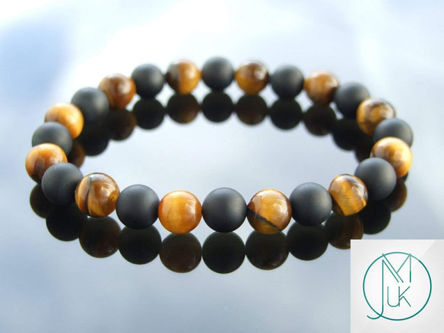Yellow Tigers Eye Onyx Matt Natural Gemstone Bracelet 7-7.5'' Elasticated-Gemstone Bracelets-Michael's UK Jewellery