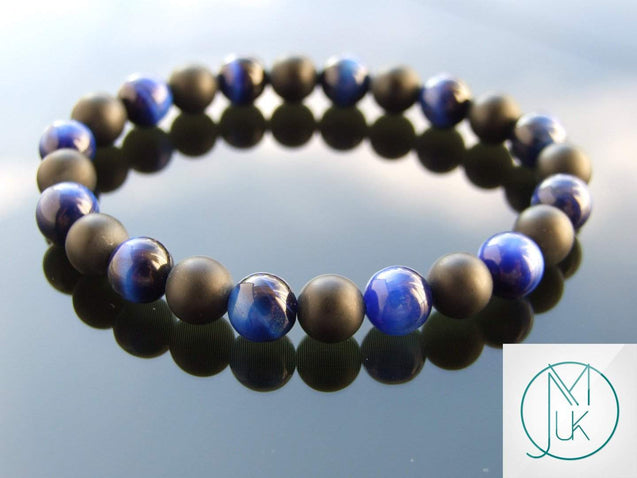 Blue Tigers Eye Onyx Matt Natural Gemstone Bracelet 7-7.5'' Elasticated-Gemstone Bracelets-Michael's UK Jewellery