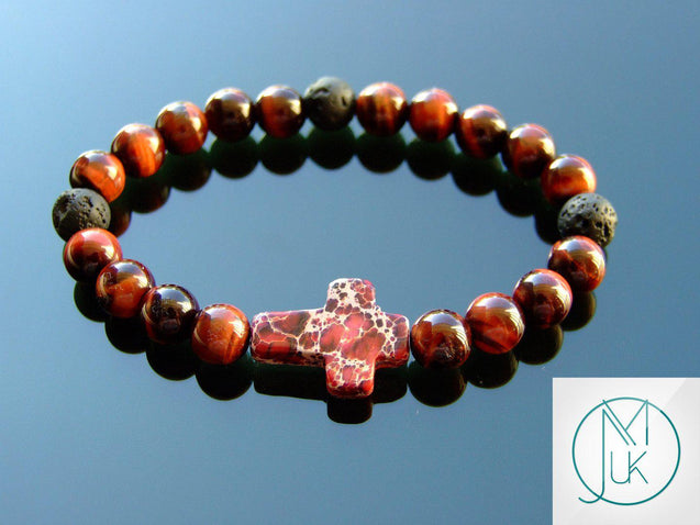 Red Tigers Eye Jasper Cross Natural Gemstone Bracelet 6-9'' Elasticated-Gemstone Bracelets-Michael's UK Jewellery