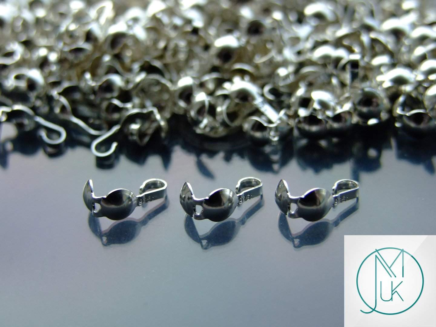 925 Sterling Silver Calottes Clam Shell Bead Ends Tips for Jewellery Making