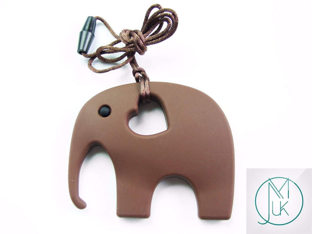 Brown Elephant Pendant Teething Necklace-Teething Jewellery-Michael's UK Jewellery