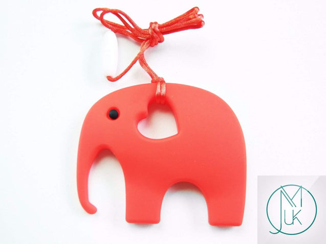 Red Elephant Pendant Teething Necklace-Teething Jewellery-Michael's UK Jewellery