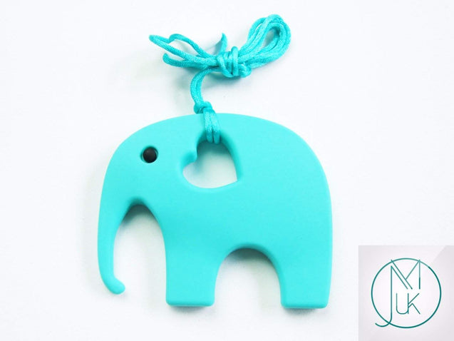 Turquoise Elephant Pendant Teething Necklace-Teething Jewellery-Michael's UK Jewellery