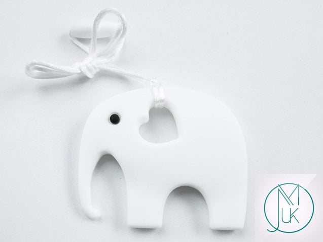 White Elephant Pendant Teething Necklace-Teething Jewellery-Michael's UK Jewellery