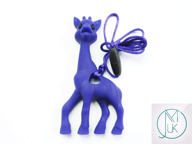 Navy Giraffe Pendant Teething Necklace-Teething Jewellery-Michael's UK Jewellery