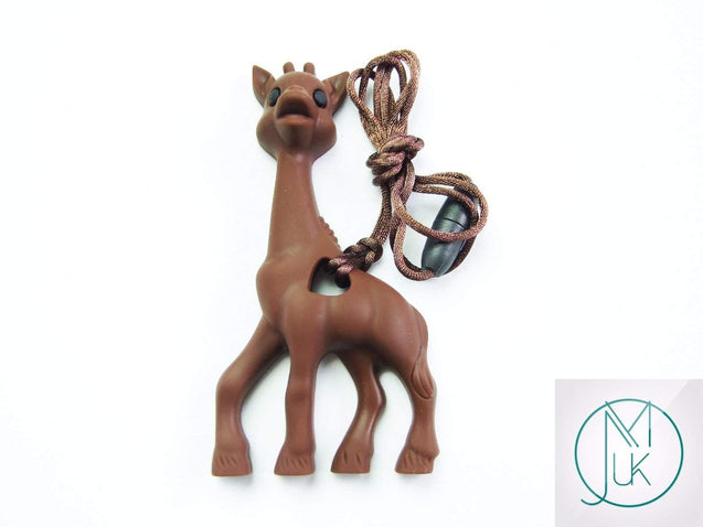 Brown Giraffe Pendant Teething Necklace-Teething Jewellery-Michael's UK Jewellery