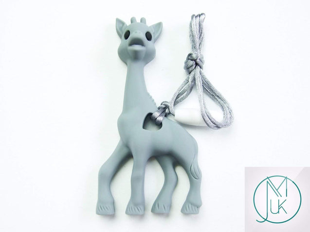 Grey Giraffe Pendant Teething Necklace-Teething Jewellery-Michael's UK Jewellery