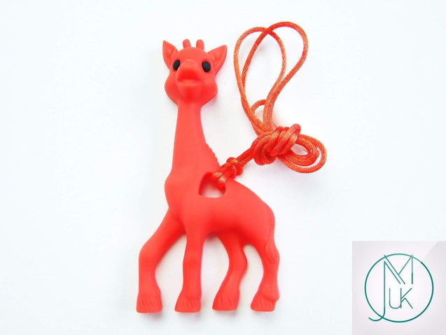 Red Giraffe Pendant Teething Necklace-Teething Jewellery-Michael's UK Jewellery