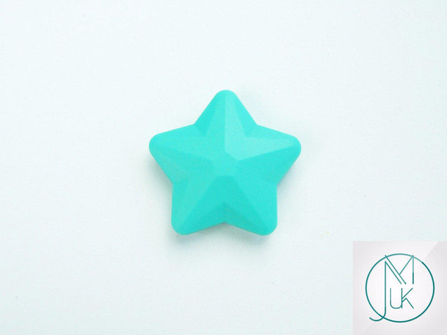 5x Star 45x45mm Silicone Beads Turquoise-Teething Jewellery-Michael's UK Jewellery