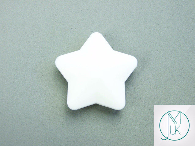 5x Star 45x45mm Silicone Beads White-Teething Jewellery-Michael's UK Jewellery