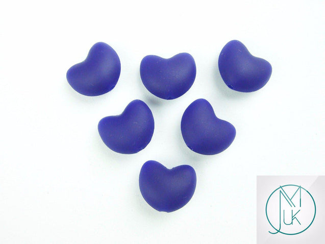 10x Heart 20x17mm Silicone Beads Navy Blue-Teething Jewellery-Michael's UK Jewellery