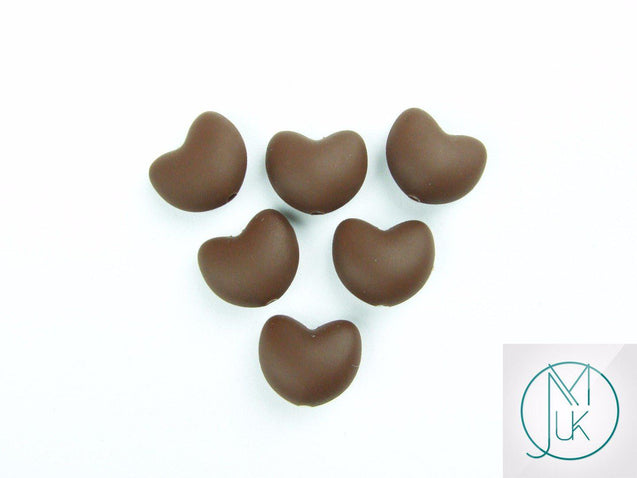 10x Heart 20x17mm Silicone Beads Brown-Teething Jewellery-Michael's UK Jewellery