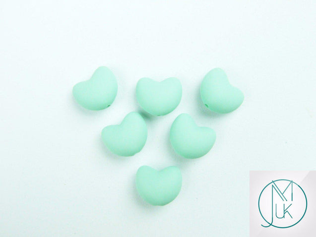 10x Heart 20x17mm Silicone Beads Mint-Teething Jewellery-Michael's UK Jewellery