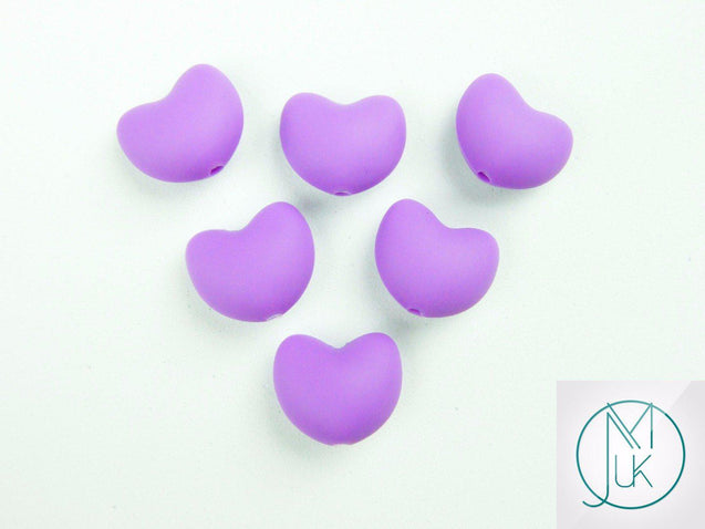 10x Heart 20x17mm Silicone Beads Purple-Teething Jewellery-Michael's UK Jewellery
