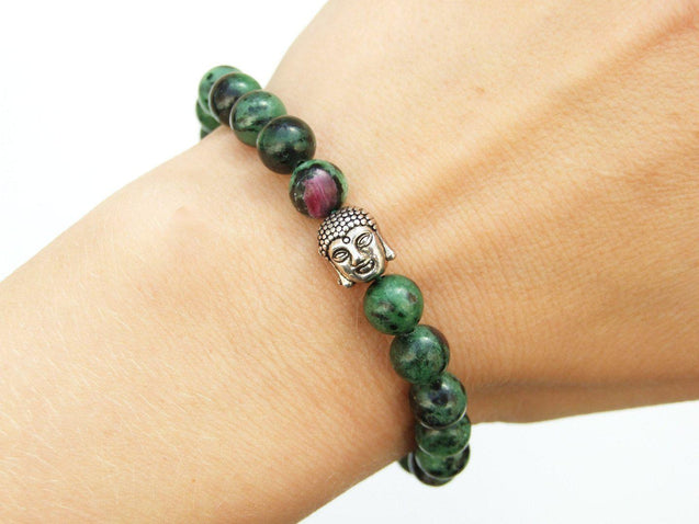 Buddha Ruby Zoisite Natural Gemstone Bracelet 6-9'' Elasticated-Gemstone Bracelets-Michael's UK Jewellery