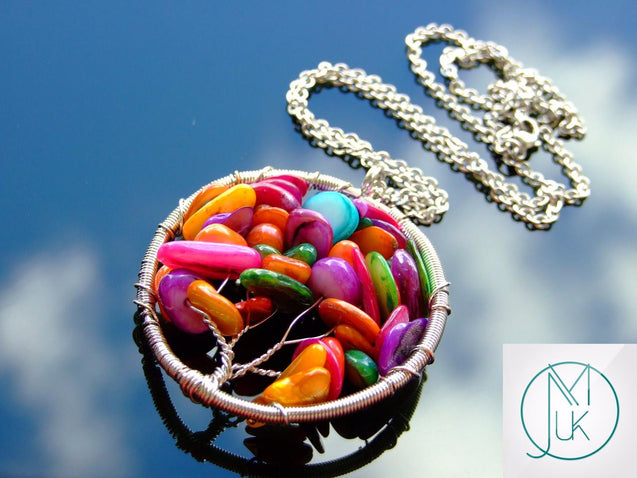 Handmade Mix Color Shells Tree of Life Natural Pendant Necklace 50cm-Pendant Necklace-Michael's UK Jewellery