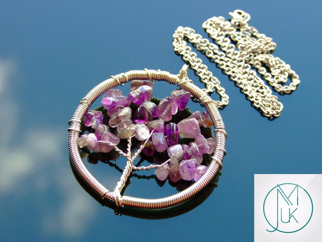 Handmade Amethyst Tree of Life Natural Gemstone Pendant Necklace 50cm-Pendant Necklace-Michael's UK Jewellery