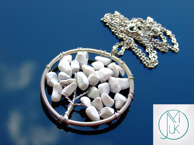 Handmade White Howlite Tree of Life Natural Gemstone Pendant Necklace 50cm-Pendant Necklace-Michael's UK Jewellery