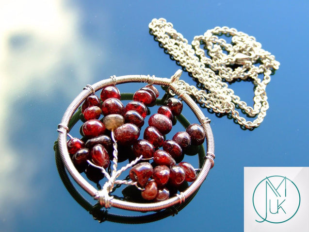 Handmade Garnet Tree of Life Natural Gemstone Pendant Necklace 50cm-Pendant Necklace-Michael's UK Jewellery
