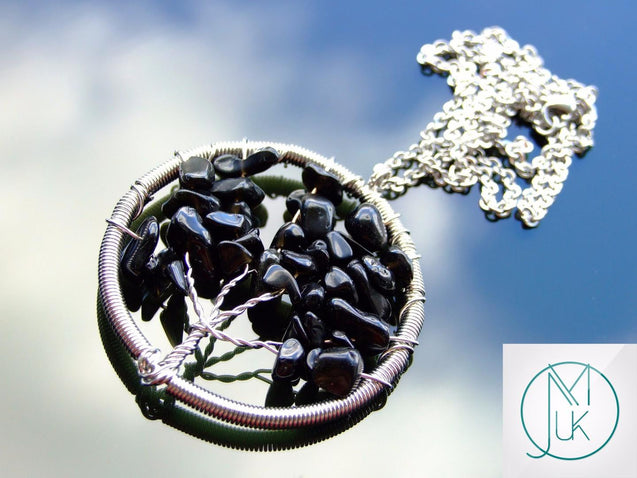 Handmade Black Onyx Tree of Life Natural Gemstone Pendant Necklace 50cm-Pendant Necklace-Michael's UK Jewellery