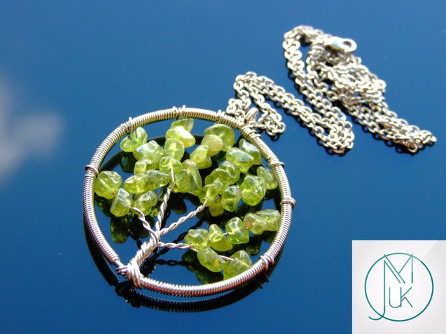 Handmade Tsavorite Tree of Life Natural Gemstone Pendant Necklace 50cm-Pendant Necklace-Michael's UK Jewellery