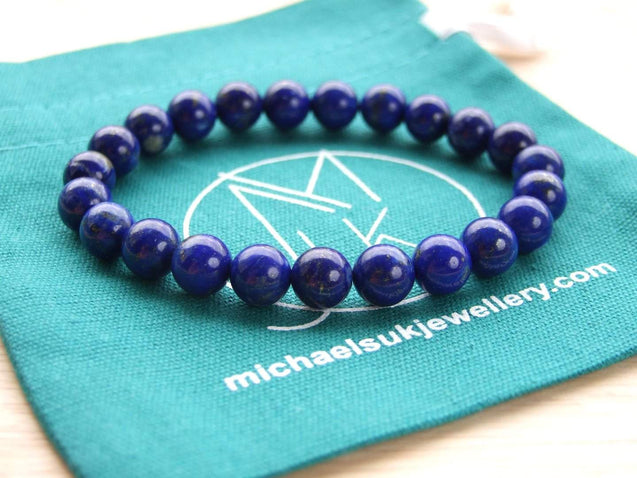 Lapis Lazuli Natural Dyed Gemstone Bracelet 6-9'' Elasticated-Gemstone Bracelets-Michael's UK Jewellery