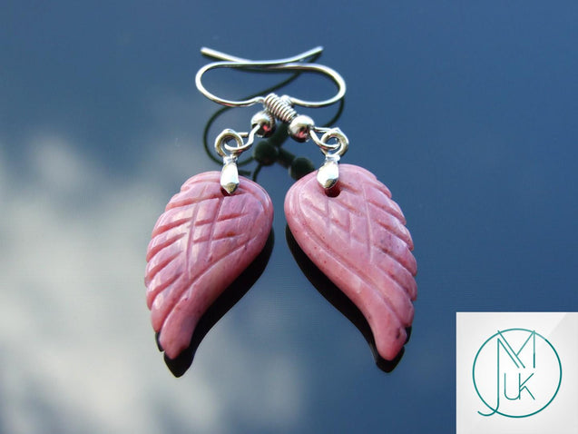 Rhodonite Angel Wing Natural Gemstone Earrings-Gemstone Earrings-Michael's UK Jewellery