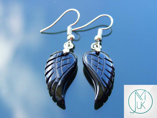 Black Onyx Angel Wing Natural Gemstone Earrings-Gemstone Earrings-Michael's UK Jewellery