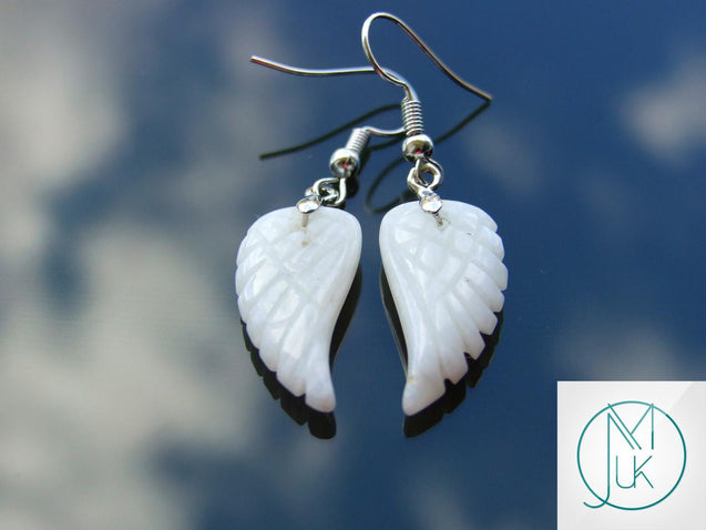 White Jade Angel Wing Natural Gemstone Earrings-Gemstone Earrings-Michael's UK Jewellery