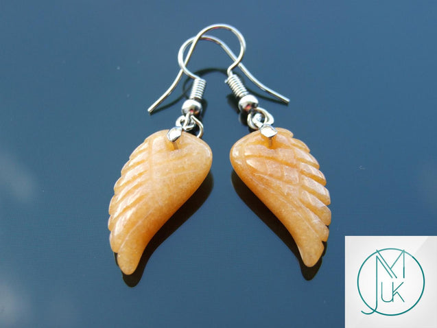 Red Aventurine Angel Wing Natural Gemstone Earrings-Gemstone Earrings-Michael's UK Jewellery