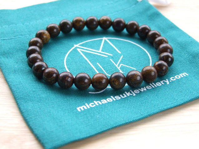 Bronzite Natural Gemstone Bracelet 6-9'' Elasticated-Gemstone Bracelets-Michael's UK Jewellery