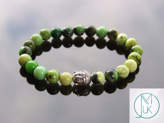 Buddha Chrysoprase Natural Gemstone Bracelet 6-9'' Elasticated-Gemstone Bracelets-Michael's UK Jewellery