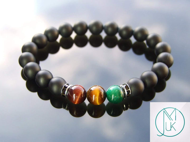 Rasta Onyx Tigers Eye Crystal Gemstone Bracelet 6-9'' Elasticated-Gemstone Bracelets-Michael's UK Jewellery