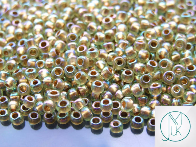 10g 998 Gold Lined Light Jonquil Rainbow Toho Seed Beads 6/0 4mm-TOHO Glass Beads-Michael's UK Jewellery