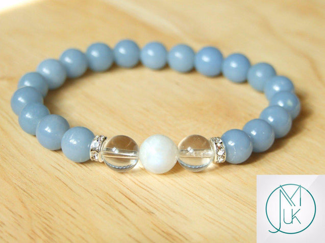 Angelite Crystal Moonstone Natural Gemstone Bracelet 6-9'' Elasticated-Gemstone Bracelets-Michael's UK Jewellery