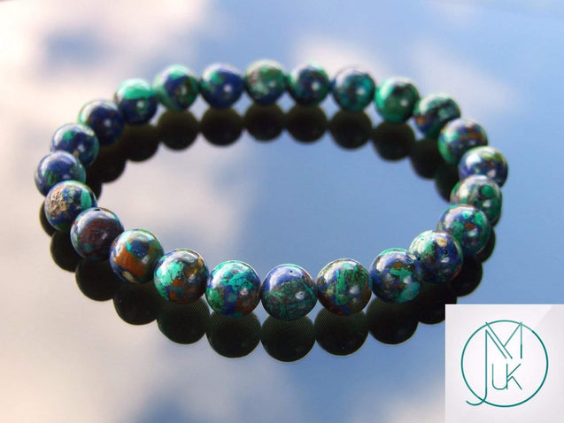 Azurite Natural Gemstone Bracelet 6-9'' Elasticated-Gemstone Bracelets-Michael's UK Jewellery