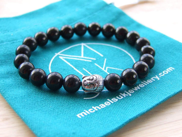 Buddha Jet Natural Gemstone Bracelet 6-9'' Elasticated-Gemstone Bracelets-Michael's UK Jewellery