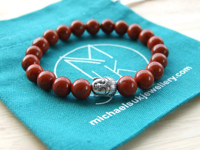 Buddha Red Jasper Natural Gemstone Bracelet 6-9'' Elasticated-Gemstone Bracelets-Michael's UK Jewellery