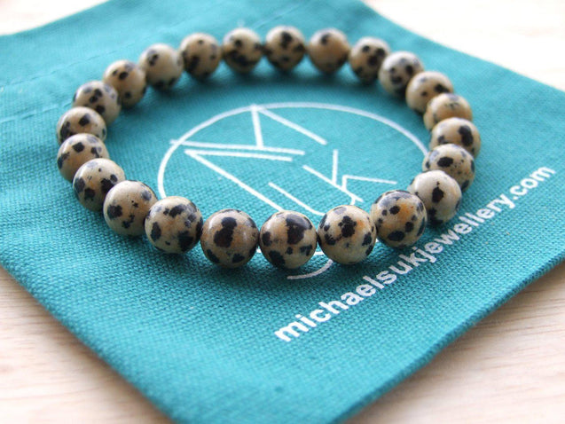 Dalmatian Jasper Natural Gemstone Bracelet 6-9'' Elasticated-Gemstone Bracelets-Michael's UK Jewellery