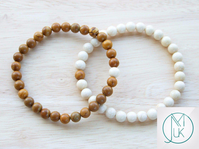 Couple Wooden/Fossil Natural Gemstone Bracelets 6-9'' Elasticated-Gemstone Bracelets-Michael's UK Jewellery
