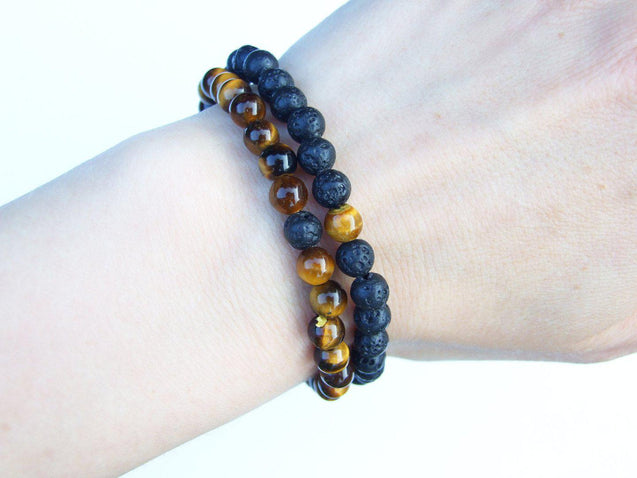 Couple Lava/Tigers Eye 6mm Natural Gemstone Bracelets 6-9'' Elasticated-Gemstone Bracelets-Michael's UK Jewellery