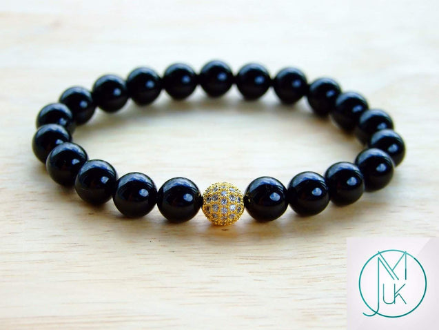 Black Tourmaline Gold Micro Pave Natural Gemstone Bracelet 6-9'' Elasticated-Gemstone Bracelets-Michael's UK Jewellery