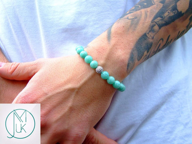 Silver Micro Pave Amazonite Natural Gemstone Bracelet 6-9'' Elasticated-Gemstone Bracelets-Michael's UK Jewellery