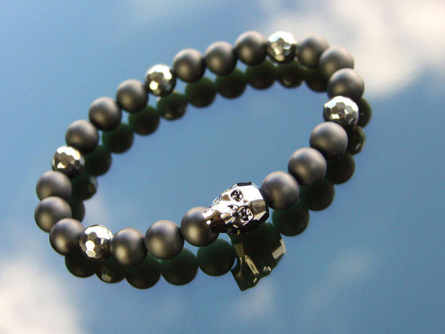 Men's Facelet Hematite Onyx Natural Gemstone Skull Bracelet with Swarovski Crystal 6-9inch-Norbis Gemstone Bracelets-Michael's UK Jewellery